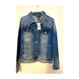 INC Destructed Trucker Jean Jacket,size XL